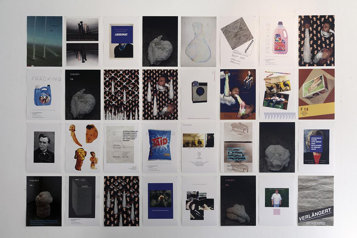 Internationales Renomée unter anderem durch Intallationen mit sinnlosen Fragen, Dresden, 2014, Rahner, Barth, Gienger, Lipps, Offspace, foam,